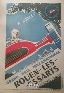 1959 Affiche originale automobile 8ème GP ROUEN LES ESSARTS rare ancienne