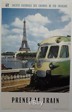 1960 Paris tour Eiffel SNCF prenez le train AFFICHE ORIGINALE ANCIENNE /R140