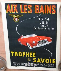 458. Aix Les Bains. 1953. Trophee De Savoie. 1 X Affiche. Voitures. 30 X 40
