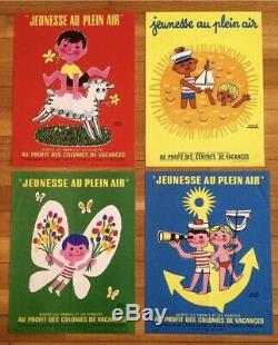 4 affichettes Jeunesse au plein air Hervé Morvan