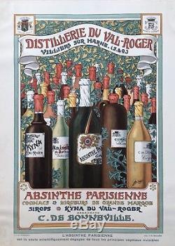 ABSINTHE PARISIENNE Distillerie du Val-Roger à Villiers sur Marne Affiche XIXè