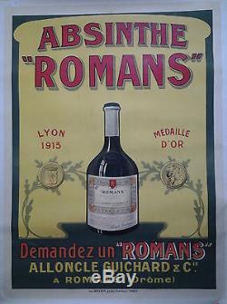 ABSINTHE ROMANS Alloncle Guichard & Cie à Romans AFFICHE ORIGINALE ANCIENNE/3a