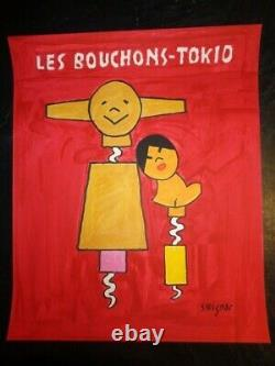 ADVERTISING POSTER BY SAVIGNAC LES BOUCHONS-TOKIO 1999 50cmx61cm