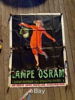 AFFICHE 1911 LAMPE OSRAM originale ancienne