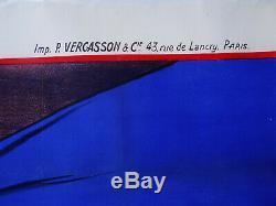 AFFICHE 1950 DISQUES-RADIO-TELE signée Béric. 157 x 114 cm
