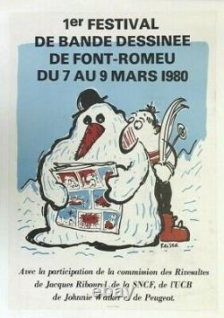AFFICHE 1er FESTIVAL BD FONT-ROMEU 1980 REISER SKI RIVESALTES BONHOMME de NEIGE