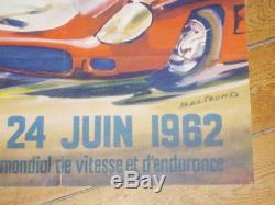 AFFICHE 24 HEURES DU MANS 24 HOURS LE MANS 1962 Originale BELIGOND