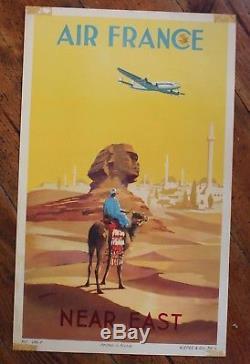 AFFICHE AIR FRANCE 1950 NEAR EAST EGYPTE SPHINX par GUERRA edition ALEPEE & Cie
