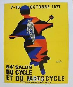 AFFICHE ANCIENNE 64e SALON CYCLE MOTO PARIS 1977 MORVAN vélo scooter vespa