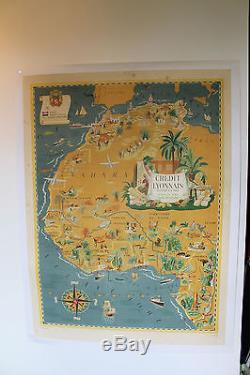 Affiche Ancienne Afrique Du Nord Credit Lyonnais Entoilee