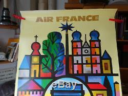 AFFICHE ANCIENNE AIR FRANCE EUROPE par NATHAN GARAMOND Jacques (1910 2001)