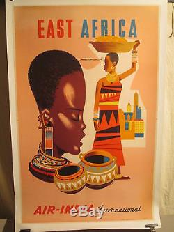 Affiche Ancienne Air India Afrique Exotisme Deco