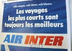 AFFICHE ANCIENNE AIR INTER FRANCE DASSAULT MERCURE 1973 1980 avion aviation