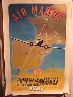 Affiche Ancienne Air Maroc Bimoteur Carte Graphique