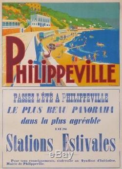 AFFICHE ANCIENNE ALGERIE PHILIPPEVILLE LA STATION ESTIVALE DES ALGÉROIS ci 1930