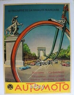 AFFICHE ANCIENNE AUTOMOTO vélo moto scooter ARC de TRIOMPHE PARIS André BERMOND