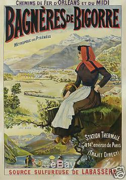 AFFICHE ANCIENNE BAGNERES DE BIGORRE LAC BLEU PYRENEES STATION THERMALE ci 1900