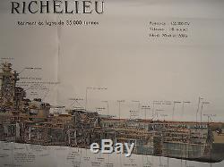 AFFICHE ANCIENNE BATEAUX GUERRE RICHELIEU D' ALBERT SEBILLE (ref 31)