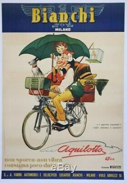AFFICHE ANCIENNE BIANCHI MILANO 1951 AQUILOTTO auto moto vélo cyclo façon MICH