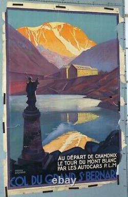 AFFICHE ANCIENNE BRODERS Roger. COL DU GRAND ST BERNARD 1927