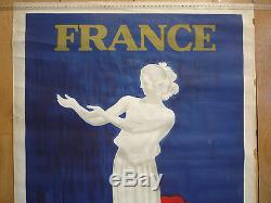 Affiche Ancienne Capiello France Travaux Public Transport 1937 Exposition