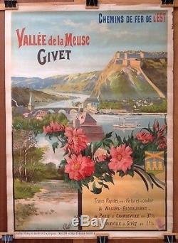 Affiche Ancienne Chemin De Fer Est Vallée Meuse Givet Navigation Plm Tanconville
