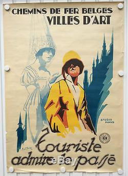 Affiche Ancienne Chemin Fer Belge Villes D'art Van Doren 28 Vintage Litho Poster