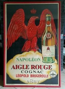 AFFICHE ANCIENNE COGNAC NAPOLEON encadree120×80 pub bistrot
