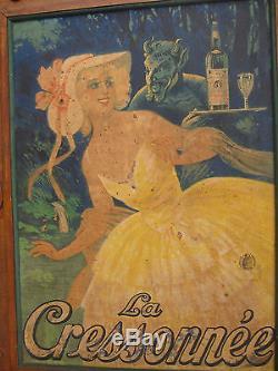 Affiche Ancienne De Bistro La Cressonnee M. Auzolle 1924 Absinthe Spiritueux