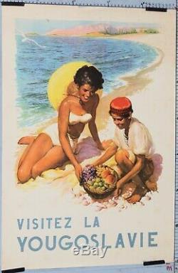 AFFICHE ANCIENNE DE TOURISME VISITEZ LA YOUGOSLAVIE circa 1950