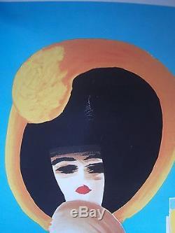 Affiche Ancienne Entoilée Orangina Light Femme Au Chapeau Villemot