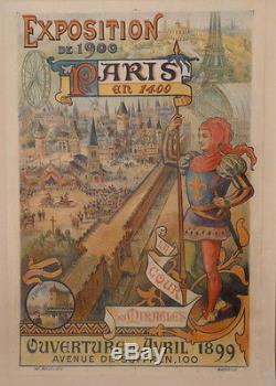 Affiche Ancienne Exposition Universelles De 1900 Tour Eiffel Grande Roue