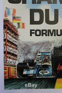 AFFICHE ANCIENNE FORMULA 1 PAUL RICARD CASTELLET signé BOIVEN premier GP F1 1971