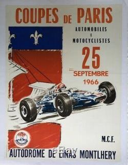 AFFICHE ANCIENNE GD PRIX COUPE de PARIS CIRCUIT MONTLHERY 25 SEPT 1966 AUTO MOTO