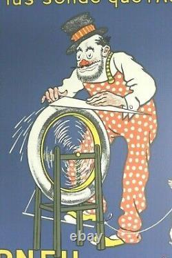 AFFICHE ANCIENNE HUTCHINSON Rémouleur signée MICH bleue litho 1970-80 d'origine
