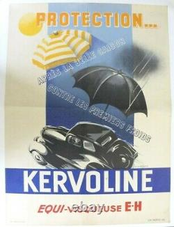 AFFICHE ANCIENNE KERVOLINE bidon HUILE AUTOMOBILE CITROEN TRACTION 1934 BLEIN