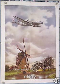 AFFICHE ANCIENNE KLM CONSTELLATION HOLLANDE The Flying Dutchman circa 1950
