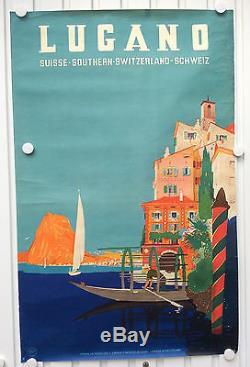 Affiche Ancienne Lugano Suisse Southern Switzerland Schweiz Vintage Litho Poster