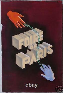 AFFICHE ANCIENNE MAQUETTE D'ETUDE ORIGINALE GOUACHE FOIRE DE PARIS Ci 1950-60