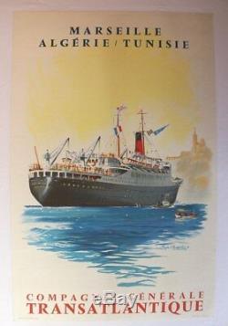 AFFICHE ANCIENNE MARSEILLE ALGERIE TUNISIE CHAPELET Cie Générale Transatlantique