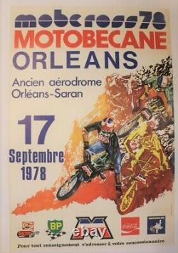 AFFICHE ANCIENNE MOTOBECANE MOBCROSS ORLEANS 17 septembre 1978 MBK BP MICHELIN