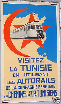 AFFICHE ANCIENNE NICO VISITEZ LA TUNISIE EN UTILISANT LES AUTORAILS Circa 1930