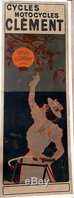 Affiche Ancienne Old Poster Cycles Motocyles Clement Pres St Gervais Pneu Dunlop