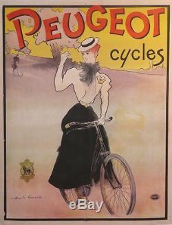 Affiche Ancienne Old Poster Cycles Peugeot Art Nouveau Par Lucas 1897 Femme