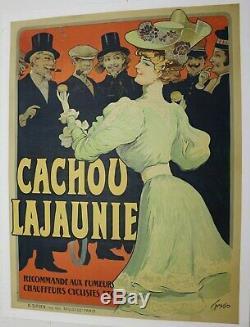 AFFICHE ANCIENNE ORIGINALE 1890 CACHOU LAJAUNIE TOULOUSE SIRVEN signée TAMAGNO