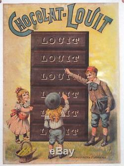 Affiche Ancienne Originale Chocolat Louit Bordeaux Enfants Ecoliers Lecture