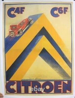 AFFICHE ANCIENNE ORIGINALE CITROEN C4F C4 C6 par Pierre LOUYS 1930 ULTRA RARE