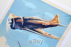AFFICHE ANCIENNE ORIGINALE GEO HAM AVIATION avion P47 thunder DC3 parachutisme
