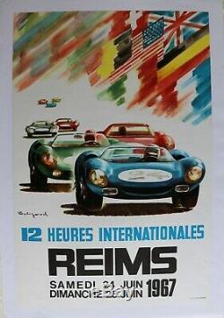 AFFICHE ANCIENNE ORIGINALE GRAND PRIX REIMS GUEUX 1967 signée BELIGOND NART FORD
