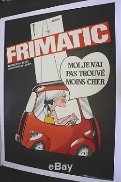 AFFICHE ANCIENNE ORIGINALE ISETTA VELAM ISO BMW microcar FRIMATIC refrigerateur